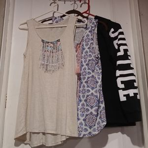 Justice size 20 plus 2 tanks one sweater